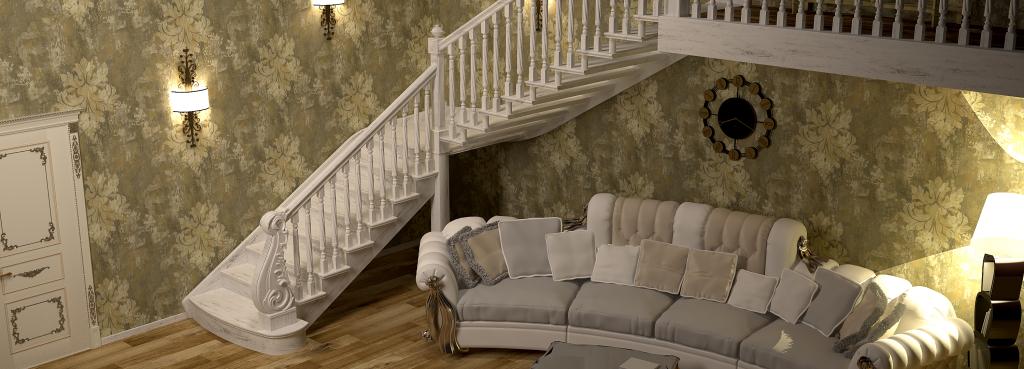 Лестница в котедж деревянная заказать в СПб